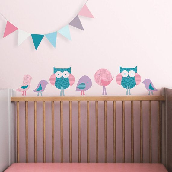 Baby Wall Decal Owl Baby Nursery Decor Wall Sticker Pink Teal. Birds and Owls Children Wall Decal by Trendy Peas