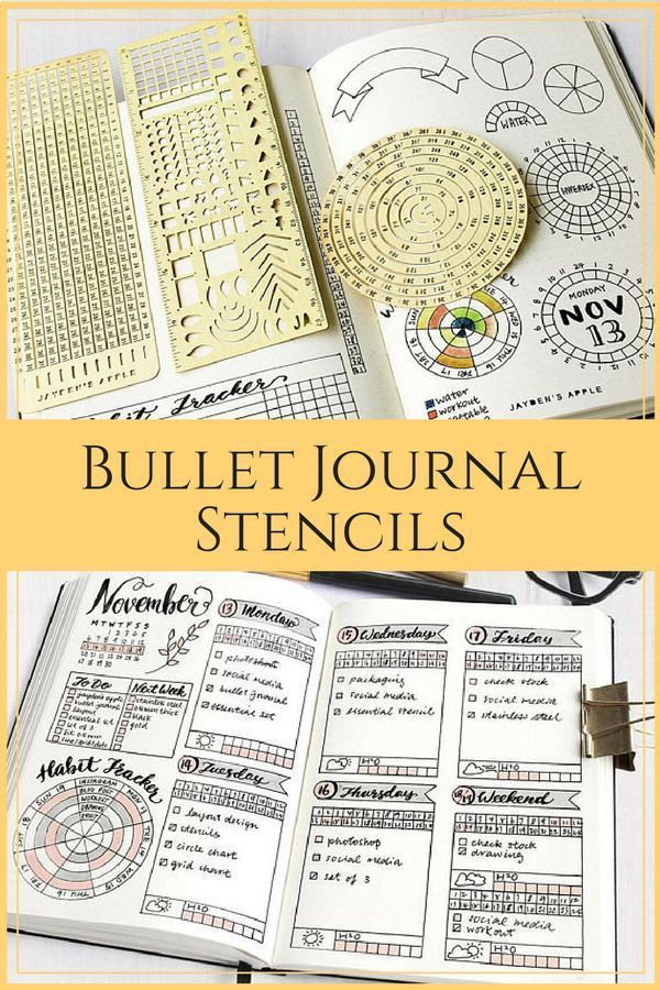 Take your bullet journal to the next level with these stencils. Whether you're just figuring out how to start a bullet journal or looking for inspiration and ideas for your next layout these stencils are the perfect addition to your bullet journal supplies.#bulletjournaljunkies #bulletjournal #bulletjournaling #journaling #productivity #ad