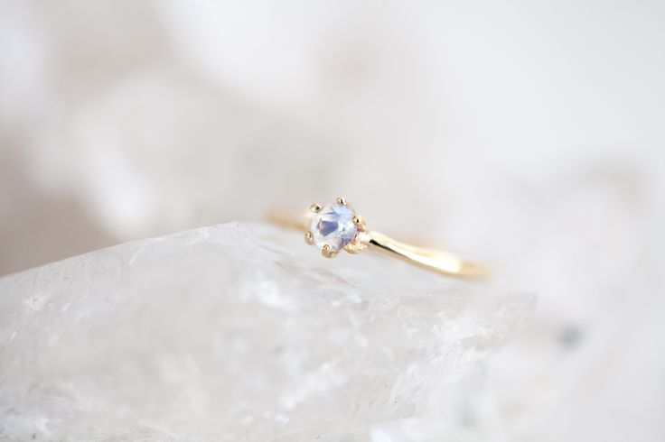 Moonstone gold solitaire ring / engagement ring / wedding ring / gold ring