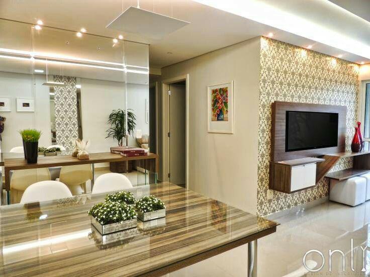 Sala De Estar E Tv Juntos ~  continuo para corredor dos quartos, papel de parede e outra de espelho