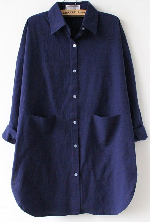 Navy Long Sleeve Pocket Lapel Loose Blouse
