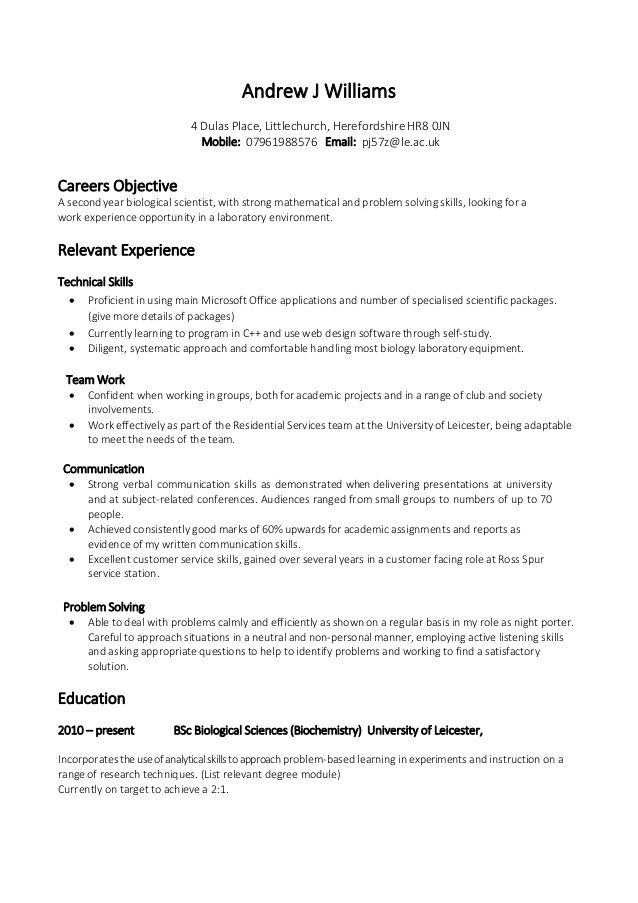 Student Cv Template No Work Experience Executive Assistant Resume