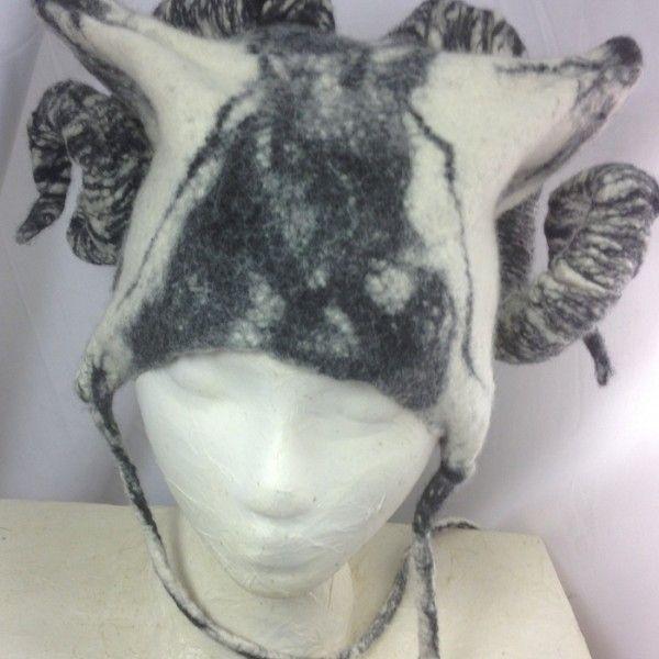 Merino felted, horned hat.