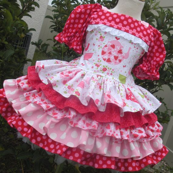 Custom Boutique Strawberry Tea Party 5 Ruffle Dress Girl 2 3 4 5 6 7 8 - LOVE, LOVE, LOVE this sweet dress! Talented seamstress!!