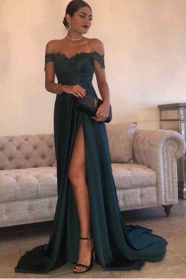 Dark Green Off Shoulder Lace Long Split Prom Dresses,HS134 from SIMI Bridal