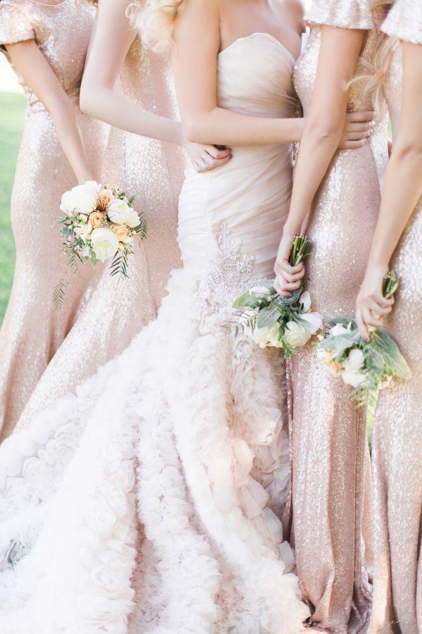 Roz la Kelin Wedding Dress & Gold bridesmaid dresses for Seaside Glam wedding