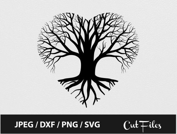 Valentine S Day Heart Tree Svg Tree Of Life Tree Roots Svg Clipart Silhouette Cricut Vector Tree Svg Roots Svg Dxf Png Tree Drawing Heart Tree Tree Svg