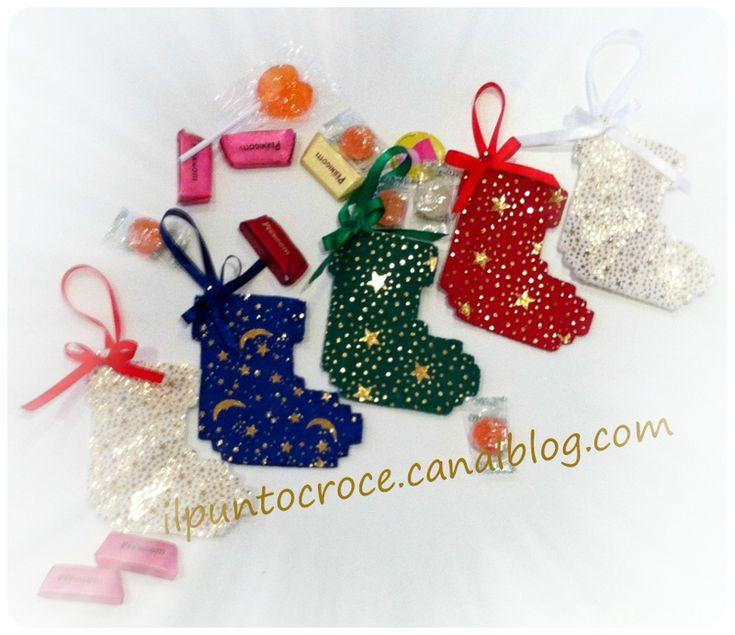 ornamento di natalae in feltro - mini casa calza 1