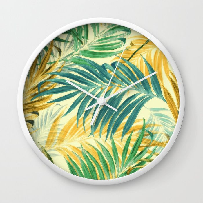 Buy Palm Leaves In Yellow Wall Clock By Chiccabesso Worldwide Shipping Available At Society6