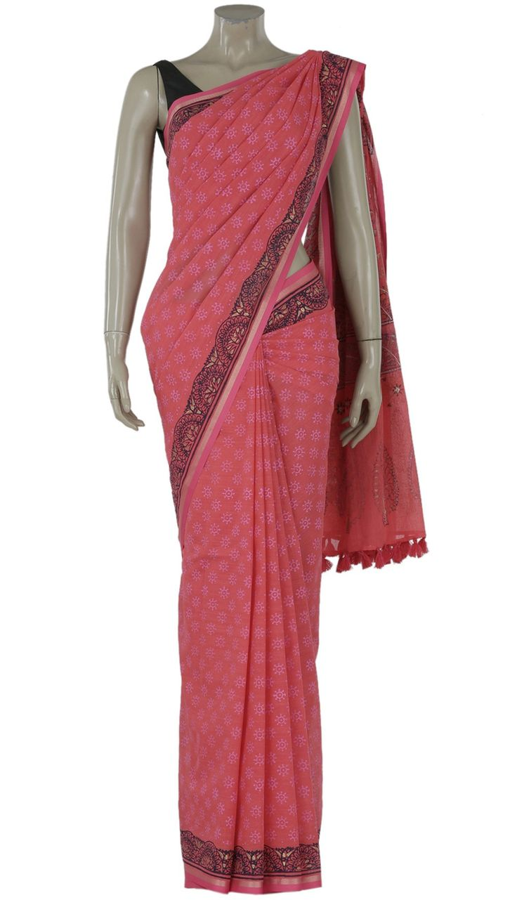 Punch Printed and Embroidered Cotton Saree