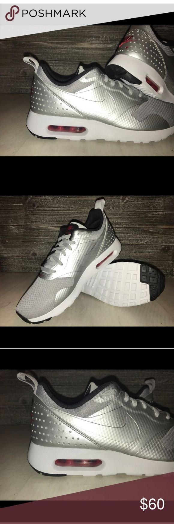 NWT !!! WOMENS NIKE AIR MAX TAVAS !! NEW IN BOX!! NEW IN BOX !!!  NIKE AIR MAX TAVAS. WOMENS RUNNING SHOE.   SIZE: 8  COLOR: SILVER with RED accent. Nike Shoes Sneakers
