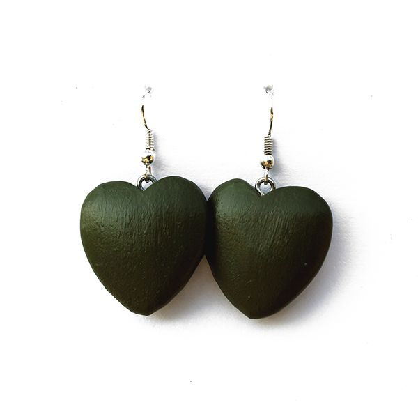 These handmade wooden heart earrings have been carved with love. They have a matte olive green finish and are silver plated (safe for those who are sensitive to nickel).  Made by Dare to Dream, based in the Garden Route of South Africa.  www.handmadeline.co.za