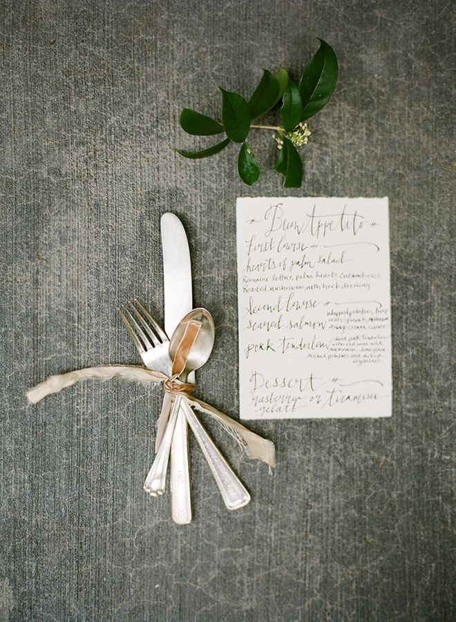 Signora E Mare calligraphy menu and placesetting