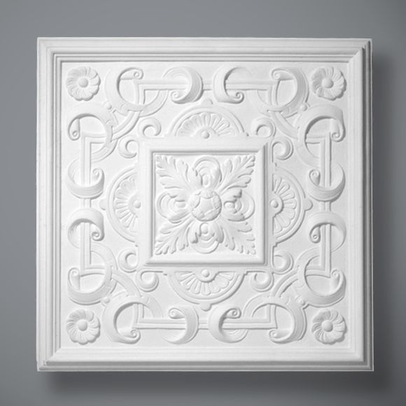 The Hayward is an unusual square plaster ceiling rose from the Edwardian period. It features well defined leaves, flowers and ribbons and has a plain band to the perimeter.  The rose would work beautifully as a sole feature and could also work well as a centrepiece for a paneled ceiling.  Dimensions:- 790mm  Depth:-55mm