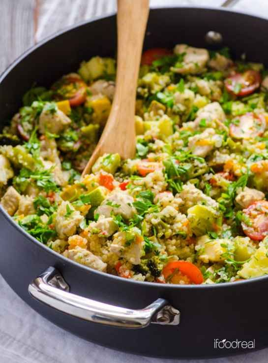 Quinoa, Chicken, and Garden Veggies Skillet