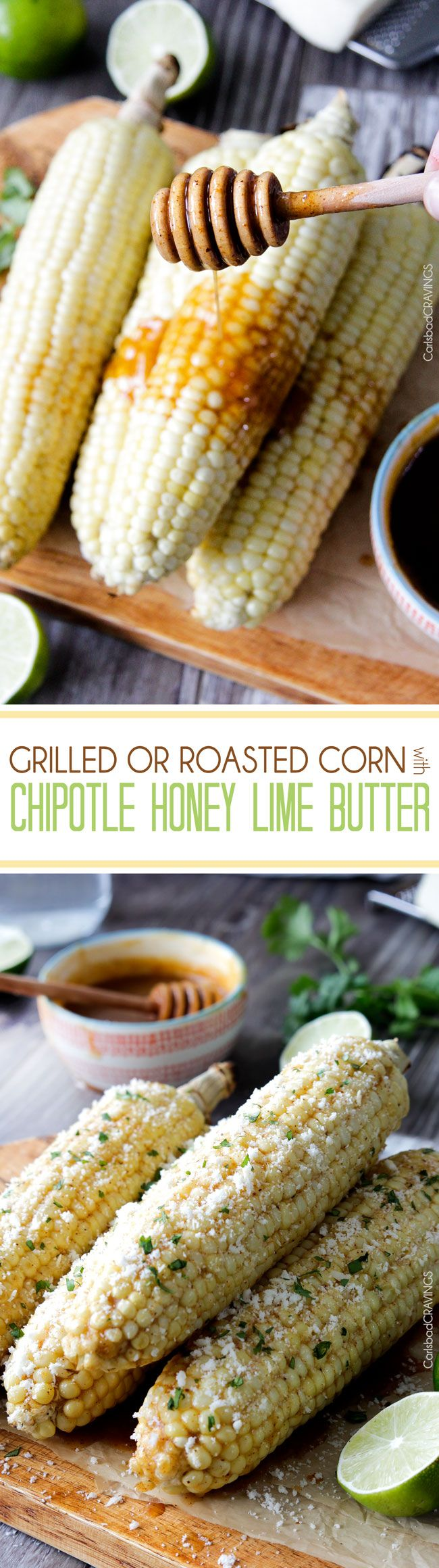 Roasted or grilled corn on the cob never tasted so delicious brushed with delectable Chipotle Honey Lime Butter