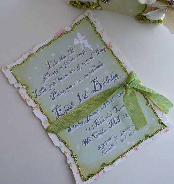 Fairy Invitations with Envelopes Shabby Chic by MyBellaBirthdays, $3.50