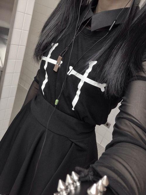 (nu?) goth fashion. bones + crosses. all black. silver spiked bracelet. <3                                                                                                                                                      More