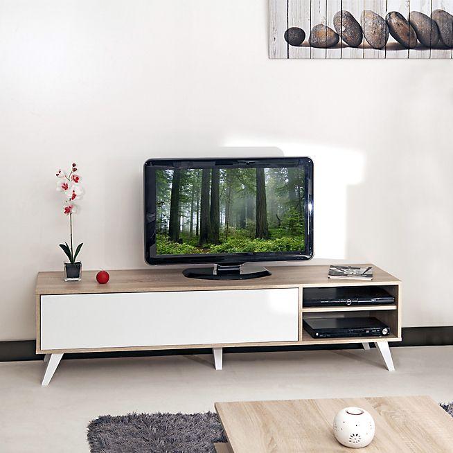 1000 id es sur le th me meuble tv chene sur pinterest for Meuble tv blanc alinea