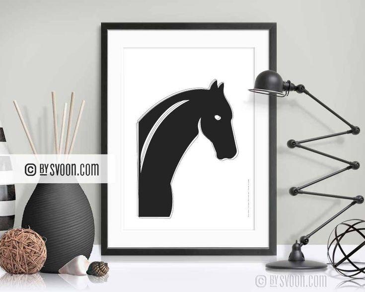 Black Horse Print, Minimal Wall Decor, Horse Head, Mane, Interior Decor, Vector Art, Black & White, High Quality Print, Gift Horse Lovers by bySvoon on Etsy
