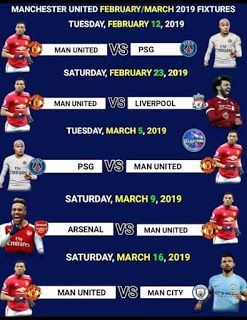 efbec8b9dd Man utd February/March 2019 Fixtures By looking at this fixture I don't  think they will Survive after facing this big teams .