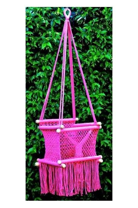 Pink hand crocheted baby chair swing by the toucan shop