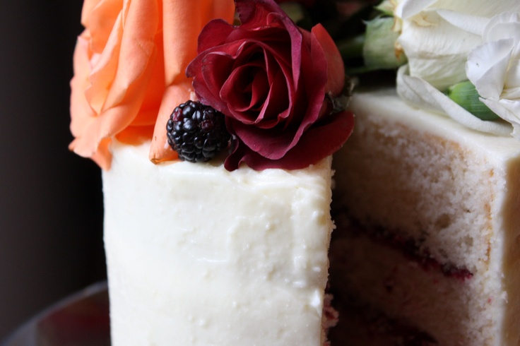 cake with blackberry-rose filling and cream cheese icing | Cakes ...