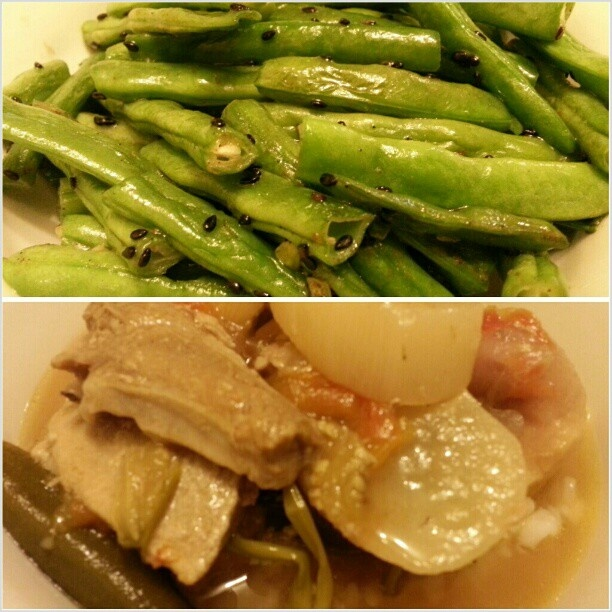 #晩ごはん #インゲン#胡麻 和え #シニガン #stringbeans with #sesame and #pork #sinigang for #yummy#dinner #filipino#japanese#food#philippines#フィリピン