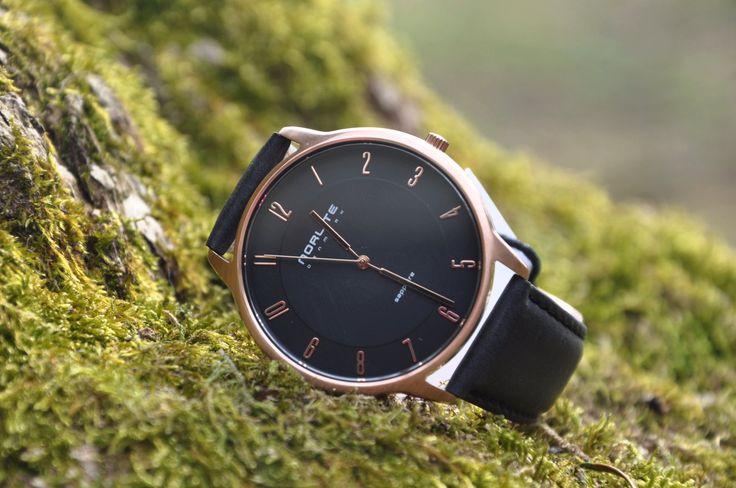 Norlite -  Rose Gold Case - Black Dial Black Leather Strap #watch #danish #design
