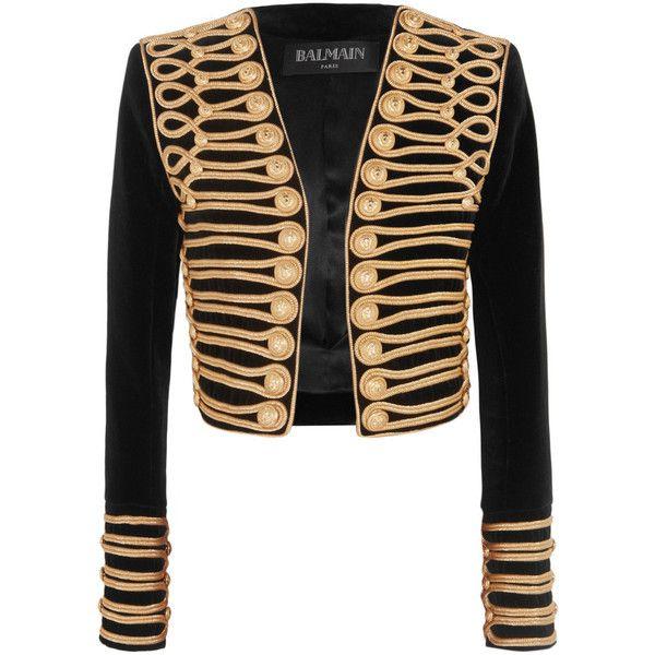 Balmain Cropped embellished velvet jacket found on Polyvore featuring outerwear, jackets, balmain, slim jacket, slim fit jacket, embellished jackets and velvet jacket