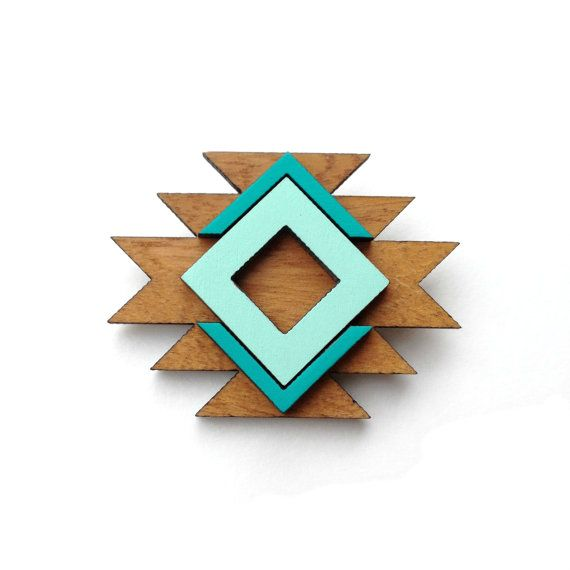 Tribal geometric wood brooch in mint and emerald inspired by Native American navajo textiles via Etsy
