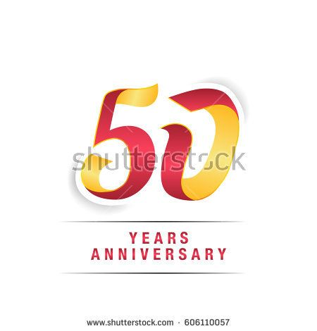 50 Years Red and Yellow  Anniversary  Logo Celebration Isolated on White Background