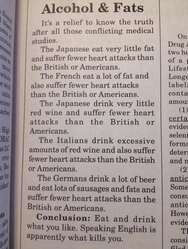 Alcohol and fats is a funny article