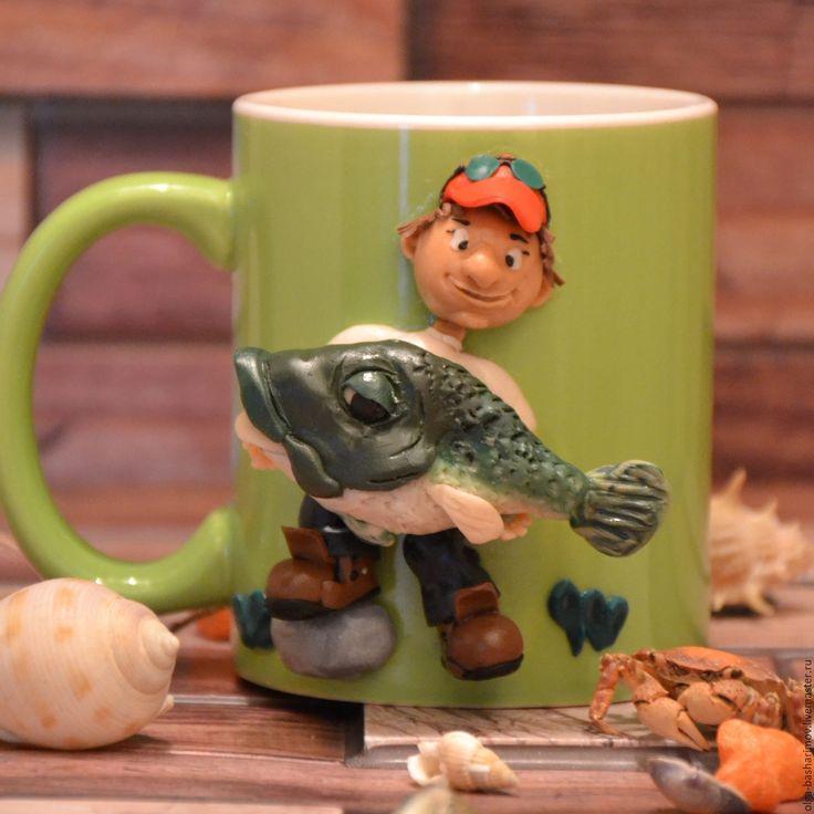 """Купить Кружка с декором из полимерной глины """" Улов рыбака"""" - зеленый, кружка, кружка в подарок"""