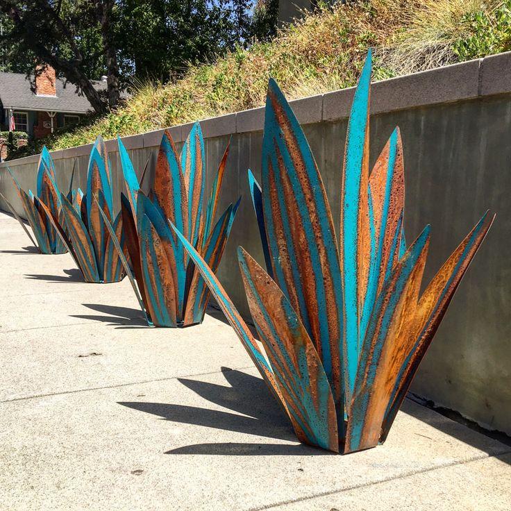 2 12 pied bleu tequila rustique sculpture art en mtal - Metallic Garden Decor