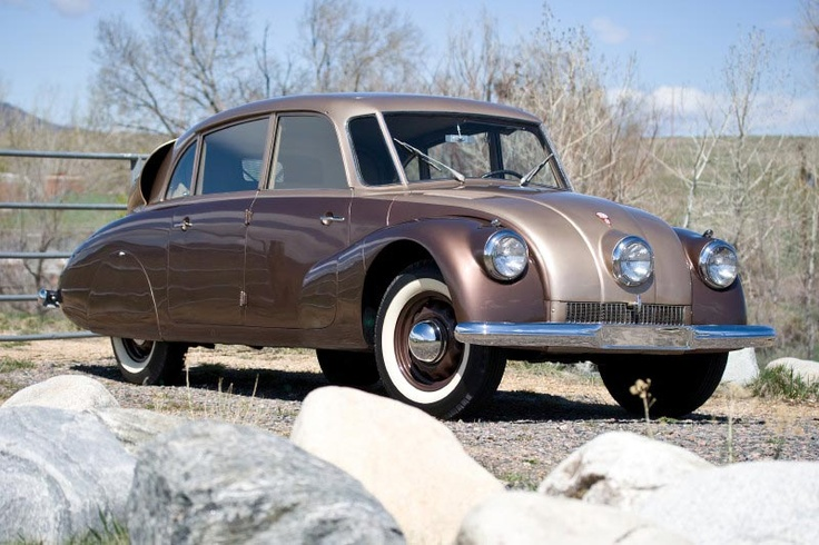 Clive Cussler, the author, owns some very cool vintage cars. This is a 1947 Tatra made in Czechoslovakia.