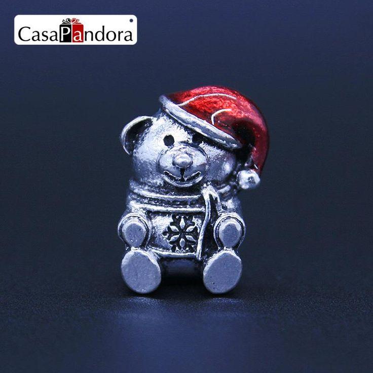 CasaPandora 925 Plated Christmas Bear Winnie Shape Fit Bracelet Charm DIY Enamel Bead Jewelry Making Pingente Berloque