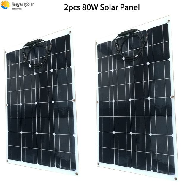 2pcs 80w Flexible Solar Panel 160w Semi Monocrystalline Solar Cell Solar Panel For 12v Solar Battery System Ener Flexible Solar Panels Solar Cell Solar Battery