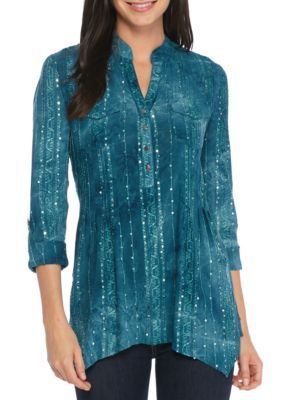 New Directions Women's Three-Quarter Roll Sleeve Sequin Top - Turquoise - L