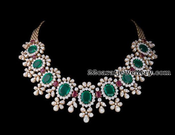 Diamond Emerald Choker 120gms - Jewellery Designs