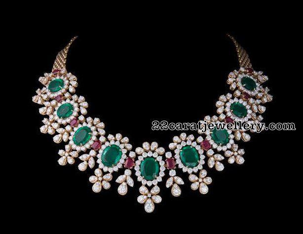 Diamond Emerald Choker 120gms - Jewellery Designs