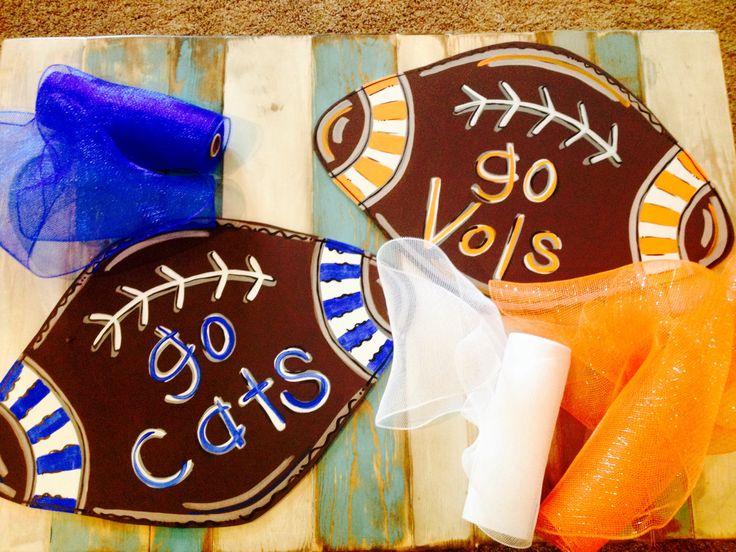 SEC Football Door Hanger Kentucky Wildcats Tennessee VOLS by HillbillyHandcrafted on Etsy https://www.etsy.com/listing/481223204/sec-football-door-hanger-kentucky