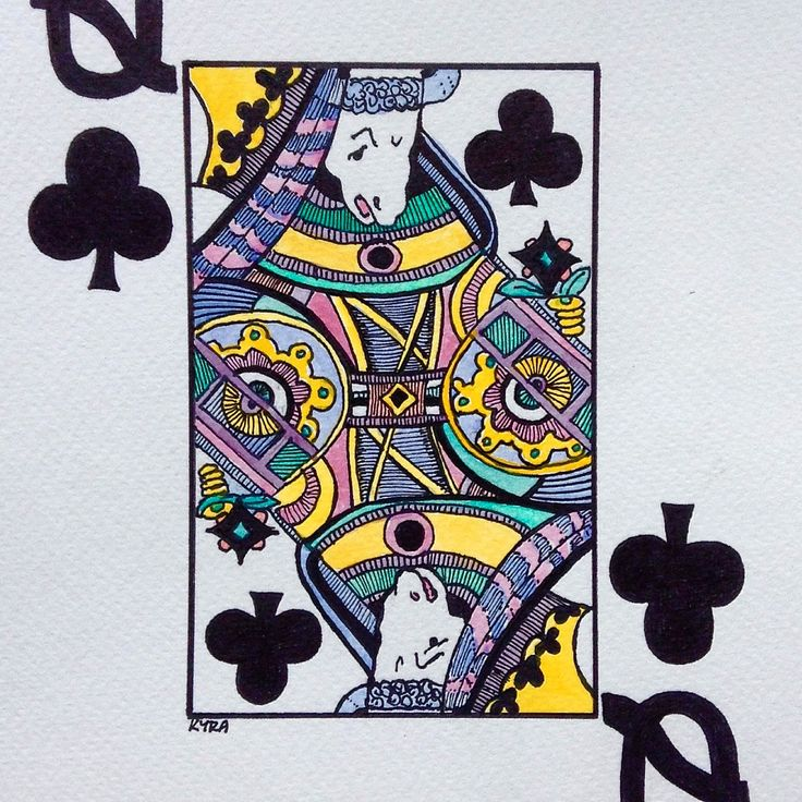 My illustration , card Queen, watercolor, ink