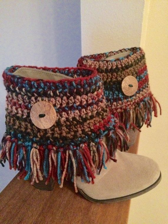 Crochet Boot Cuffs/Boot Toppers/Boot Cover with Large Wood Button and Fringe