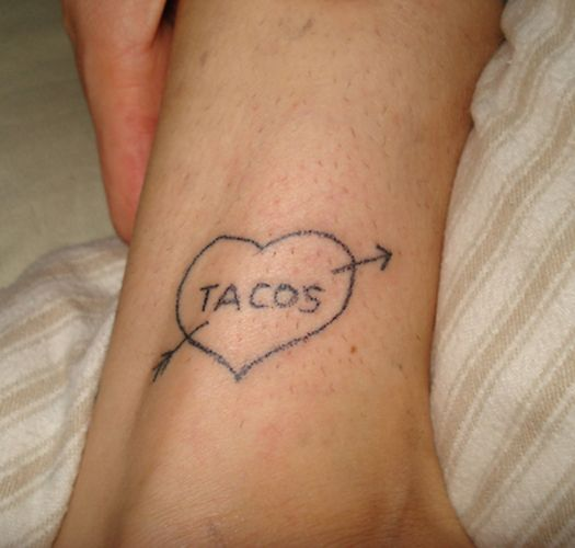Tacos Heart Funny Tattoos regrettable bad tattoos terrible awful ugliest tattoos wtf tattoos, horrible tattoos awkward family photos america's worst tattoos photos crazy tattoos people weird people stupid humor redneck humor