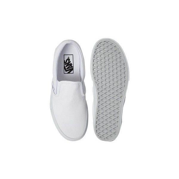 Vans True White Classic Slip On Trainers (89 CAD) ❤ liked on Polyvore featuring shoes, sneakers, flats, shoes - flats, vans, white sneakers, vans sneakers, slip on flats, flat pumps and slip on shoes