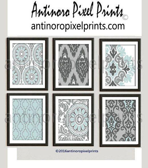 Aqua Blue Grey White Valspar Ikat Damask by antinoropixelprints