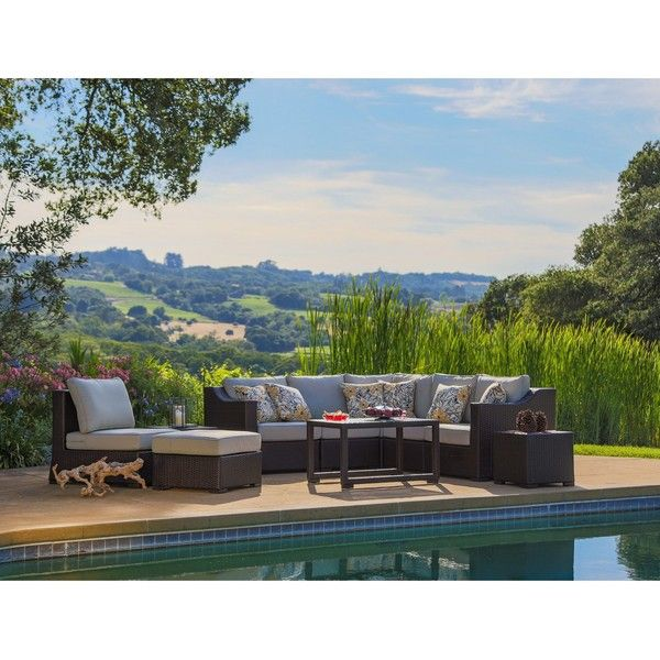 Matura 10-piece Brown Wicker Patio Furniture Set by Corvus ($2,400) ❤ liked on Polyvore featuring home, outdoors, patio furniture, outdoor patio sets, beige, outside side table, outdoor wicker patio sets, outdoor wicker furniture, wicker end tables and wicker patio furniture