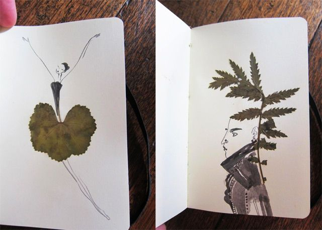 figurative sketchbook illustrations created around the forms of pressed leaves. They showed up in the Tumblr of the Sketching Backpacker who has some serious chops when it comes to documenting their travels using paint, collage, pencil, or anything else available, I definitely recommend getting lost for a moment.