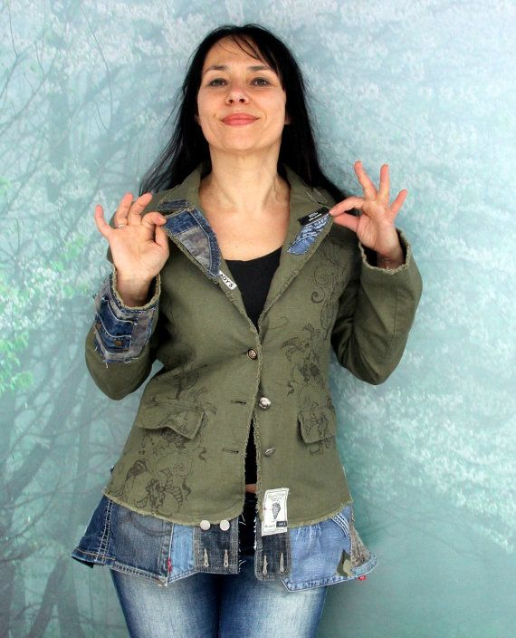 M-L Crazy boro recycled and upcycled linen and denim jeans jacket hippie boho